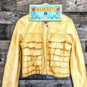STUNNING Crop Ruffle Bomber Vegan Leather Jacket